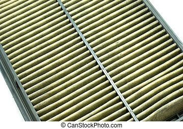 close  up of dirty air filter  car , on white background