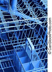 close up of dishwasher blue background