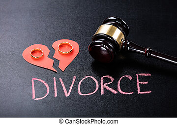 Close-up Of Divorce Concept On Blackboard
