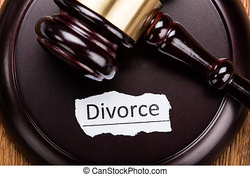 Divorce Concept On Wooden Mallet