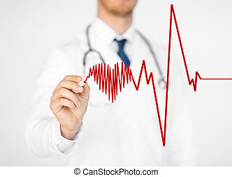 doctor drawing electrocardiogram on virtual screen - close...