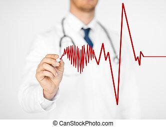 doctor drawing electrocardiogram on virtual screen - close...
