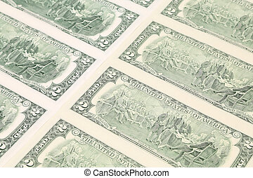Close up of dollar bills.