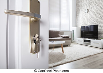 Door Handle With Inserted Key