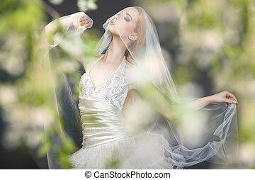 Close up of dreamy beautiful blonde bride.