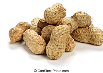 Dried peanuts isolated on white background
