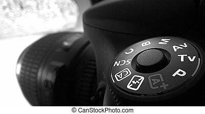 Close up of DSLR camera - Close up shot of DSLR camera mode...