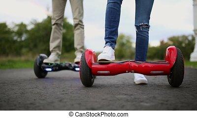 Close Up of Dual Wheel Self Balancing Electric Skateboard Smart