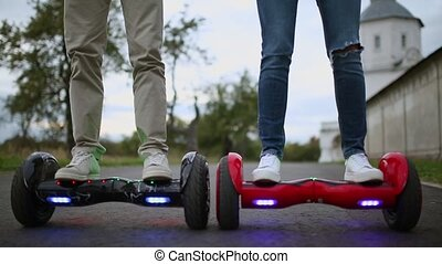 Close Up of Dual Wheel Self Balancing Electric Skateboard Smart