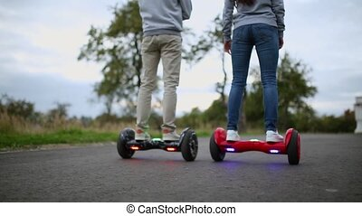Close Up of Dual Wheel Self Balancing Electric Skateboard...