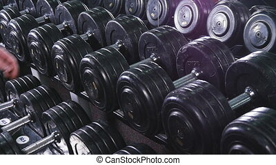 Close up of dumbbells lying in a row