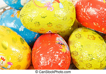 close up of easter chocolate eggs