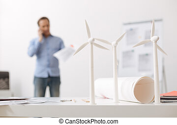 Close up of eco turbines models on the table