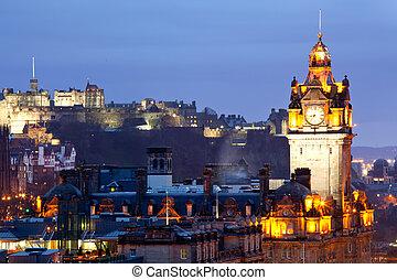 Edinburgh Castle and Skylines - Close up of Edinburgh Castle...