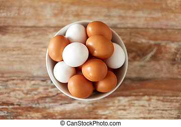 close up of eggs in ceramic bowl on wooden table