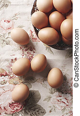 Close up  of eggs in the basket