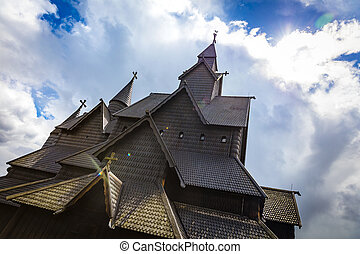 Close-up of eidsborg wooden stave church in Telemark Norway...