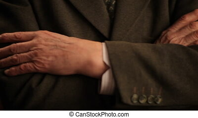 close up of elderly male hands