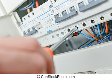 Close up of electric fuse box