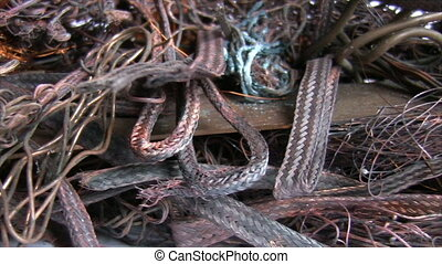 Close up of electrical waste