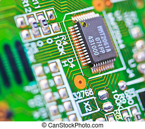 Close-up of electronic circuit board. Macro and remote
