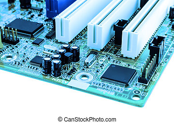 Close-up of electronic circuit board with processor.