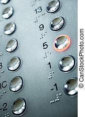elevator keypad - close up of elevator keypad with glowing ...