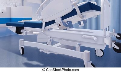 Close-up of empty hospital bed in emergency room of modern...