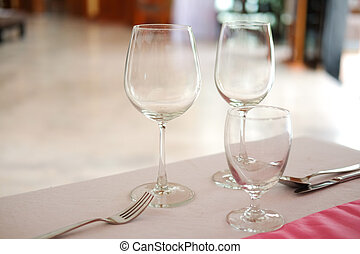Close up of empty wine glass on table