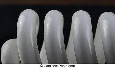 close-up of energy saving compact fluorescent light bulb