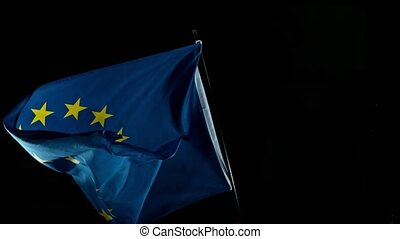 Close up of EU Flag Waving. EU Banner Flaping in Wind. Super Slow Motion.