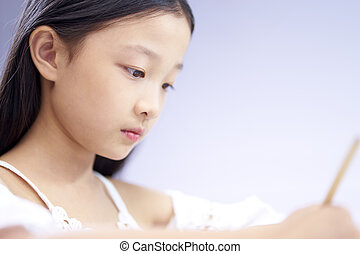 close-up of face of a little asian girl