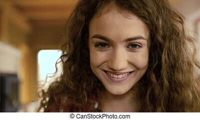 Close up of face of beautiful teenage girl at home - Close...