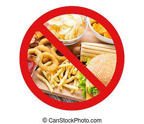 close up of fast food snacks behind no symbol - fast food, ...