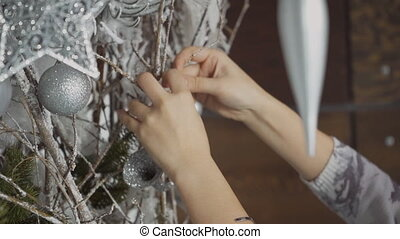 Close-up of female Asian decorates silvery branches with...