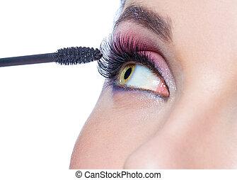 Close-up of female eye and brush applying mascara