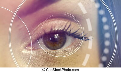 close up of female eye checks vision in future clinic