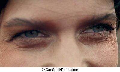 Close-up of female eyes