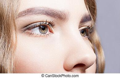Close-up of female eyes makeup