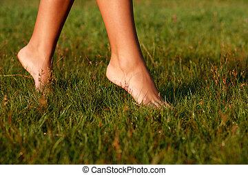 close-up of female legs