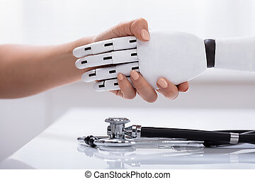 Female Shaking Hand With Robot