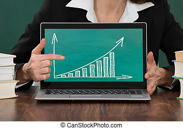 Female Teacher Pointing At Graph On Laptop