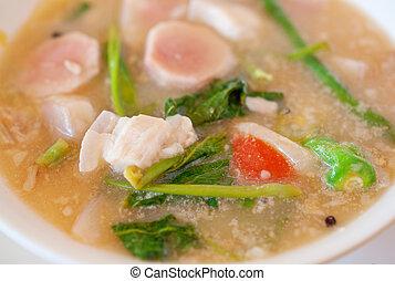 close up of Filipino pork sinigang