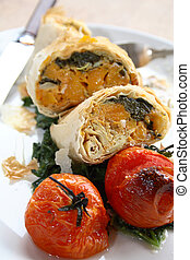 Close-up of filo parcels with roast
