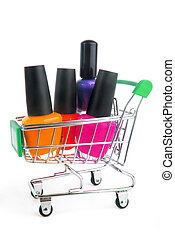 close up of fingernail enamel in shopping trolley
