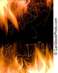 Close-up of fire and flames on a black background