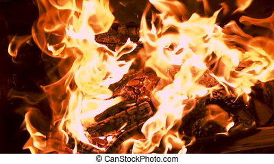 close up of fire with flames