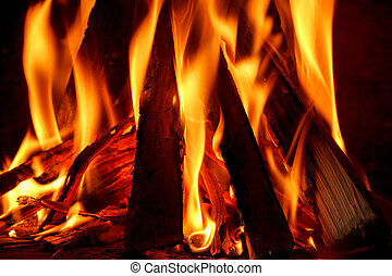 Close up of firewood burning in fireplace