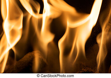 Close up of flames on black background