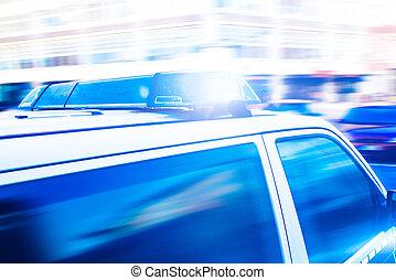 flashing blue lights on police car